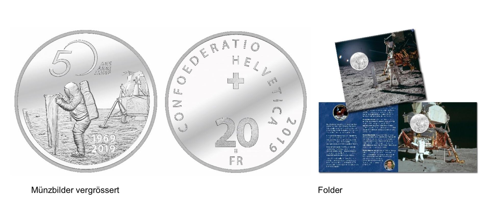 Silbermünze 50 Jahre Mondlandung